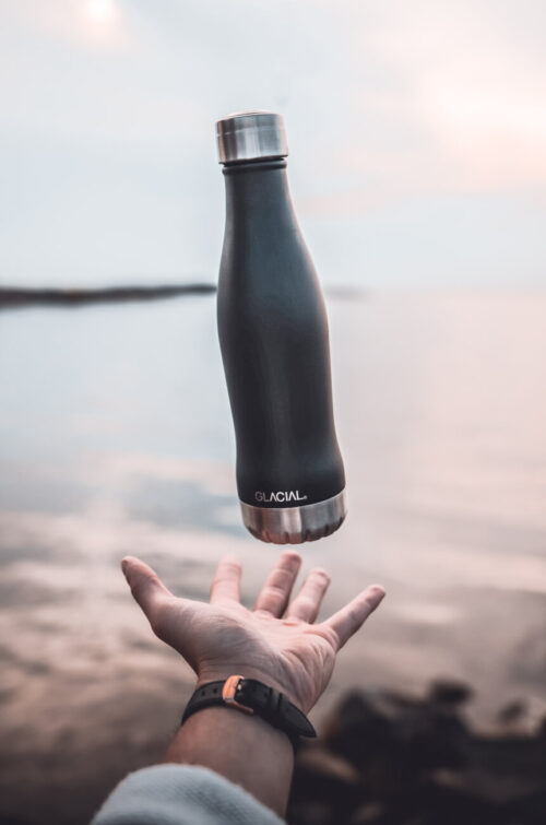 Glacial Stainless Steel Bottle Mat Black 400ml