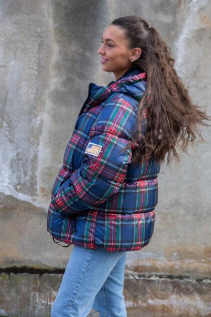 Svea Short Padded Hood Jacket Blue