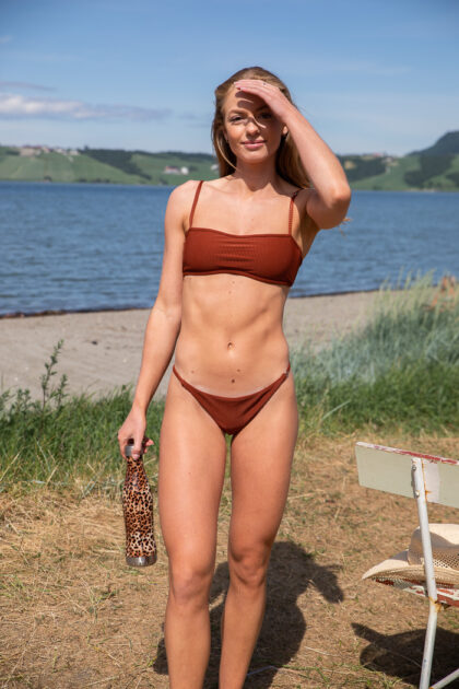 Shiny Rib Bikini Tanga Brief