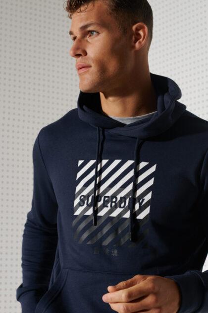 Superdry Training Core Sport Hood 3Tshop.no herreklær trening hoodie hettegenser blå
