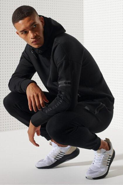 Superdry Training Gymtech Ziphood herre hoodie hettejakke sort